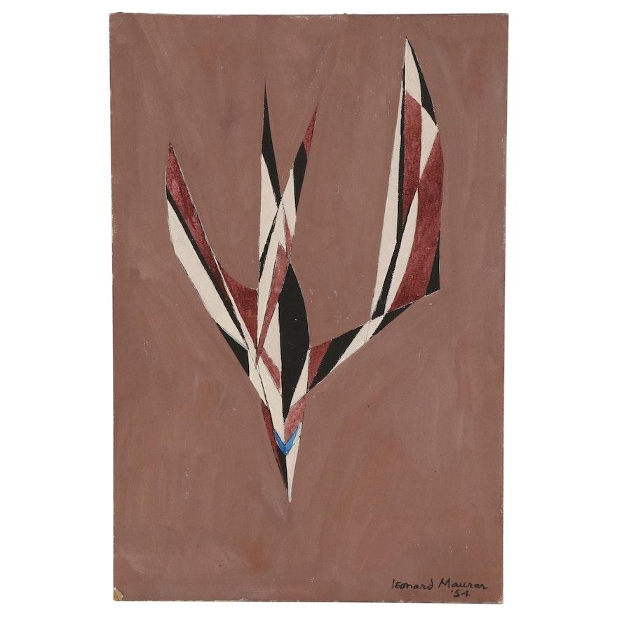 "Leonard Maurer Acrylic Painting ""Flight"", 1954"