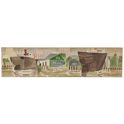 "Leonard Maurer Panoramic Watercolor Painting ""Port"", Mid-20th Century"