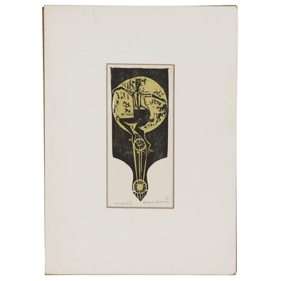 "Leonard Maurer Woodcut ""Unicyclist"", 1966"