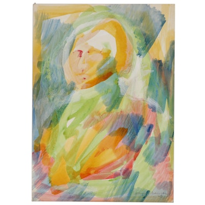 Leonard Maurer Abstract Watercolor Portrait Painting of George Washington, 1968
