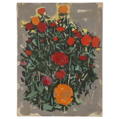 Leonard Maurer Floral Acrylic Painting, 1958