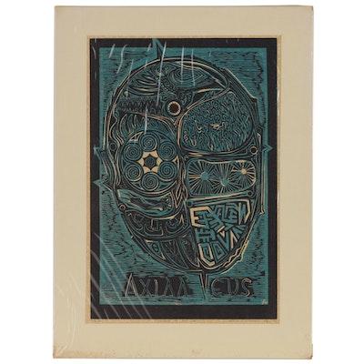 "Leonard Maurer Woodcut ""Shield of Achilles"", 1973"
