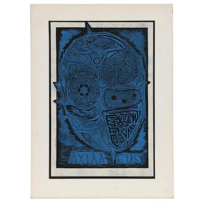 """Leonard Maurer Abstract Linocut """"Achilles"""", 1973"""