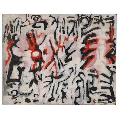 Leonard Maurer Abstract Oil Painting, 1963
