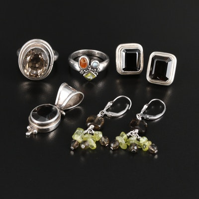 Sterling Silver Jewelry Selection Featuring Gemstone Accents and Sarda Pendant