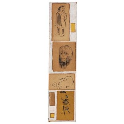 """Leonard Maurer Collaged Panel of Ink Drawings """"Anthology #7"""", 1956"""