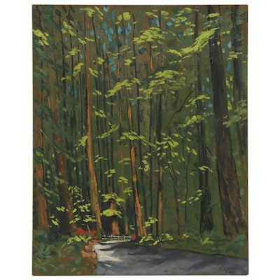 "Joseph Di Gemma Landscape Oil Painting ""Redwood Highway - California"""