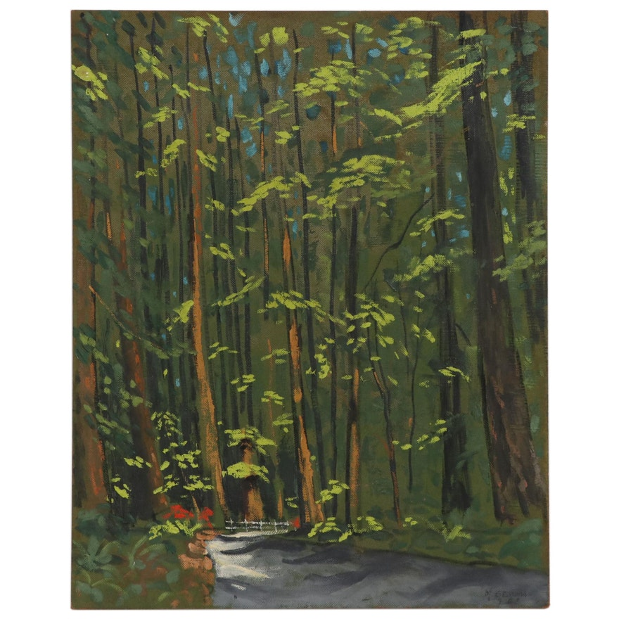 "Joseph Di Gemma Landscape Oil Painting ""Redwood Highway - California"""