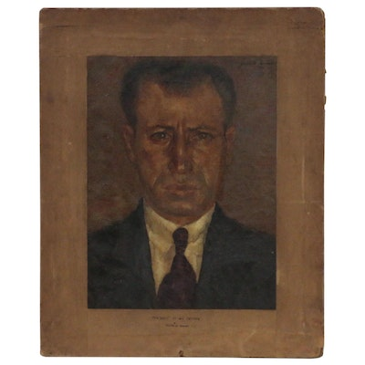 "Joseph Di Gemma Oil Painting ""Portrait of My Father"", 1932"