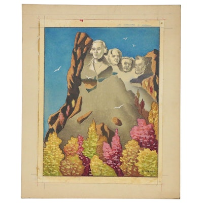 Joseph Di Gemma Mixed Media Painting of Mount Rushmore