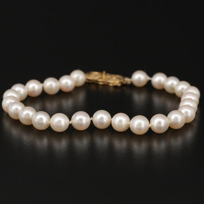 Mikimoto Single Strand Pearl Bracelet with 18K Gold Clasp
