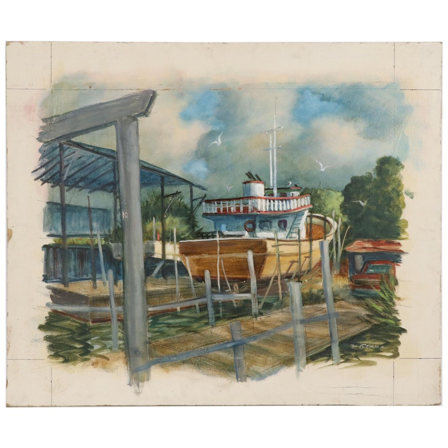 "Joseph Di Gemma Oil Painting ""Ponce Inlet, Boat Yard, Florida"""