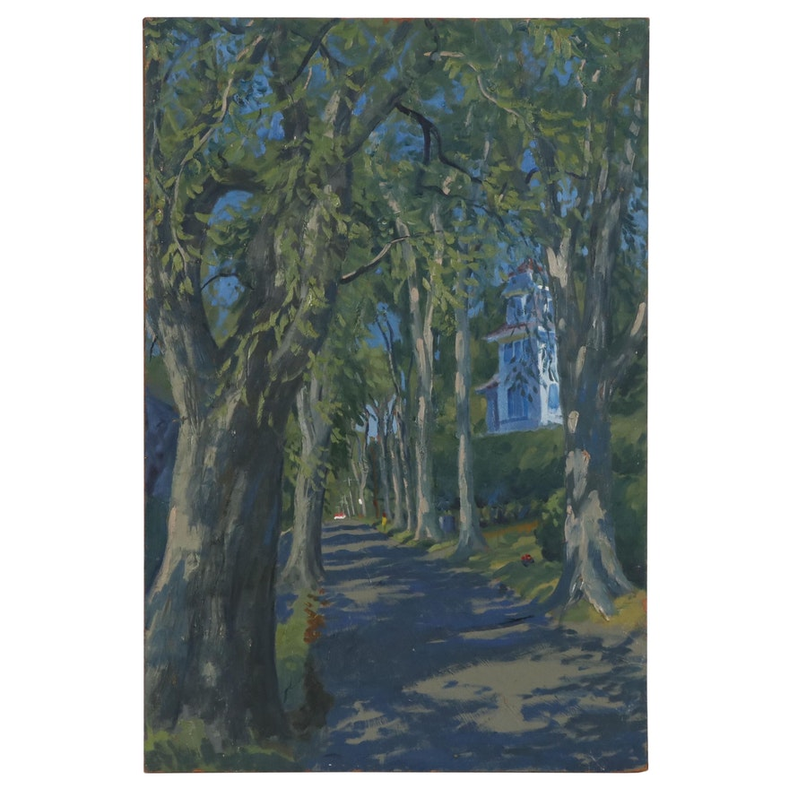 Joseph Di Gemma Oil Painting of Tree Lined Street