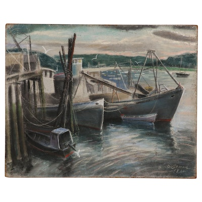 Joseph Di Gemma Mixed Media Drawing of Harbor Scene