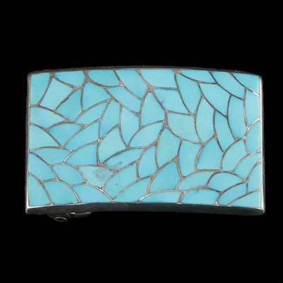 Signed Southwestern Sterling Turquoise Inlay Belt Buckle