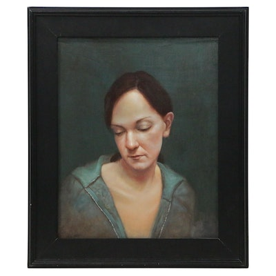 Bruce Erikson Oil and Egg Tempera Portrait Painting, 2004