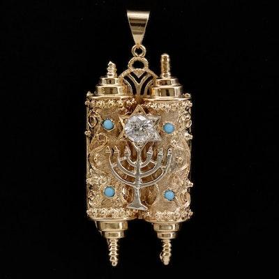 14K Yellow Gold Diamond and Imitation Turquoise Torah Scroll Pendant