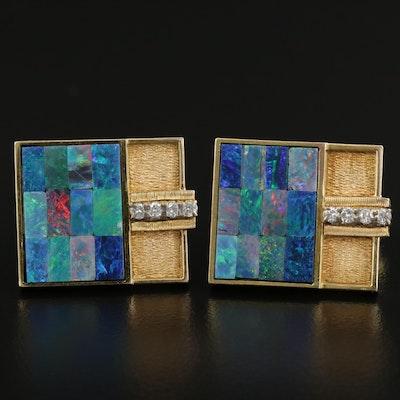 14K Yellow Gold Opal Doublet and Diamond Cufflink