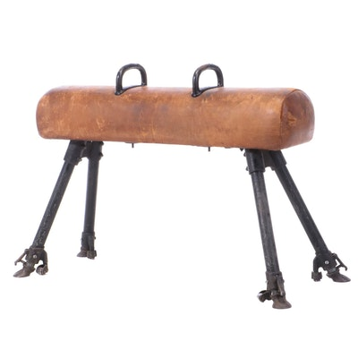 Brown Leather-Upholstered Wood and Steel Pommel Horse, First Half 20th Century
