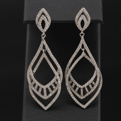 14K White Gold 1.31 CTW Diamond Drop Earrings