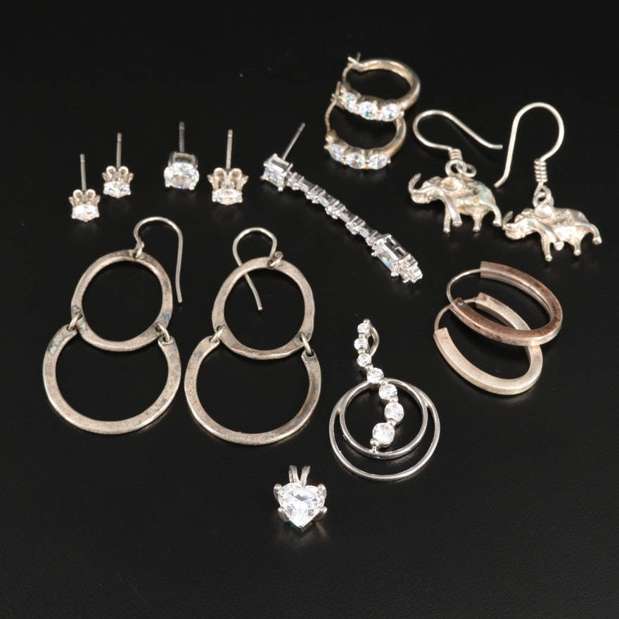 Sterling Silver Earring Selection Featuring Cubic Zirconia and Elephants
