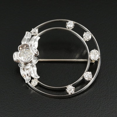 Vintage Platinum 1.55 CTW Diamond Brooch