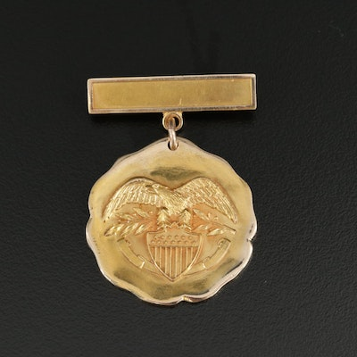 10K Yellow Gold Military Medal Pin
