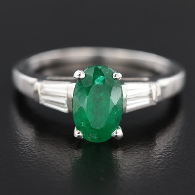 14K White Gold 1.57 CT Emerald and Diamond Ring