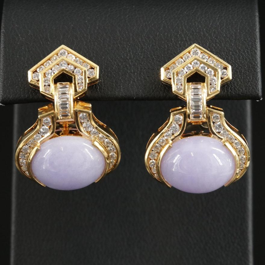 18K Gold Jadeite and 1.55 CTW Diamond Earrings