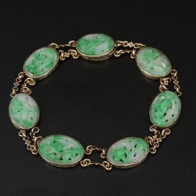 14K Yellow Gold Carved Jadeite Bezel Link Bracelet