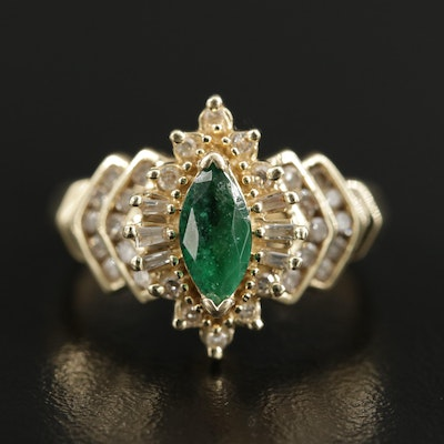 14K Gold Emerald and Diamond Ring with Stepped Shoulders