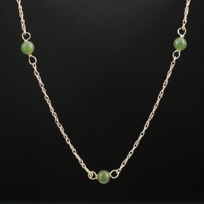14K Yellow Gold Nephrite Station Necklace