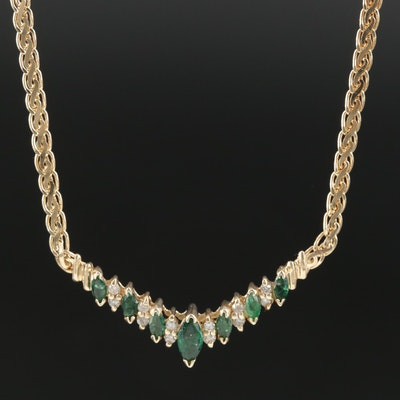 14K Gold Emerald and Diamond Chevron Necklace