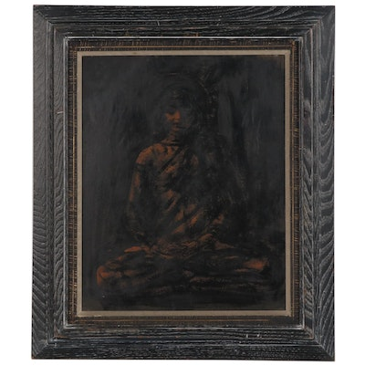 "Seymour Swetzoff Ink and Brush Painting ""The Buddha"""