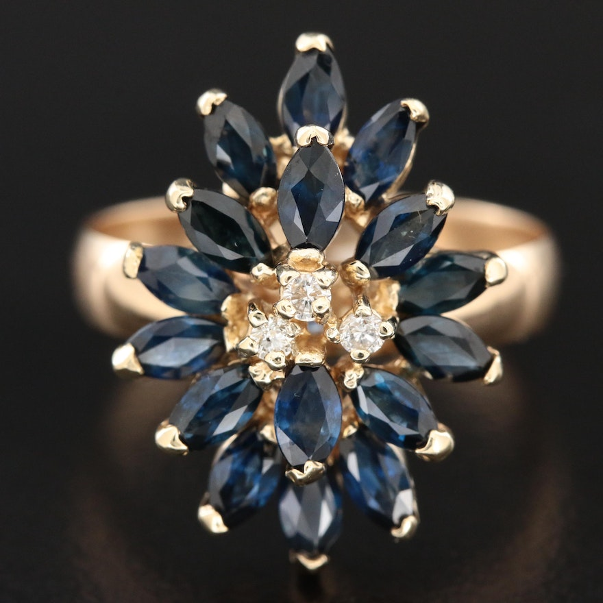 14 Gold Diamond and Sapphire Cluster Ring