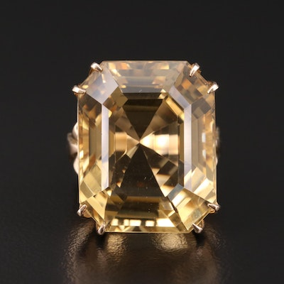 14K Gold 43.00 CT Citrine Filigree Ring