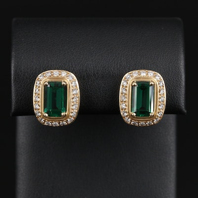 James Avery 18K Gold Synthetic Emerald Earrings with Diamond Halos