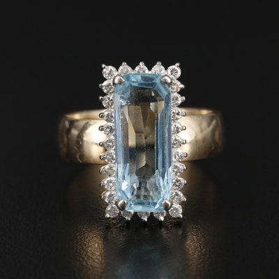 14K Yellow Gold 4.74 CT Aquamarine and Diamond Ring