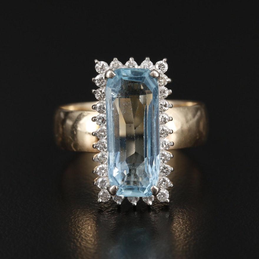 14K Yellow Gold 4.74 CT Aquamarine and Diamond Ring
