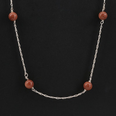 14K Yellow Gold Goldstone Glass Station Necklace