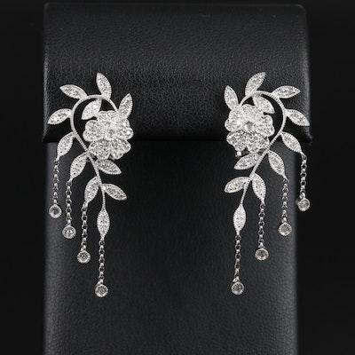 14K White Gold 0.73 CTW Diamond Floral Earrings