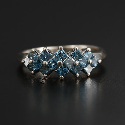 14K Yellow Gold 0.90 CTW Blue Diamond Ring