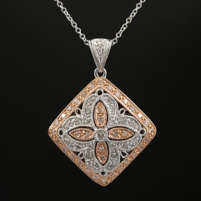 14K White and Rose Gold Diamond Pendant on Cable Chain Necklace