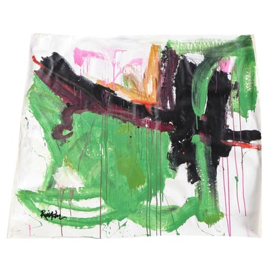 "Robbie Kemper Abstract Acrylic Painting ""Green Magenta Black"""