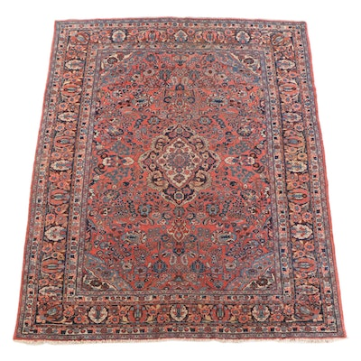 7'11 x 9'11 Hand-Knotted Persian Mashhad Wool Rug
