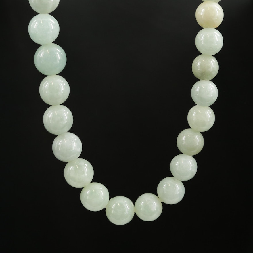 Jadeite Strand Necklace with 14K Yellow Gold Clasp