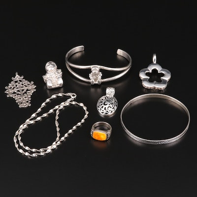 Sterling Silver and 835 Silver Assorted Jewelry with a Spiny Oyster Ring