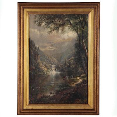 Edmund D. Lewis Pastoral Landscape Oil Painting, 1875