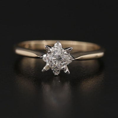 14K Yellow Gold Diamond Ring with White Gold Head