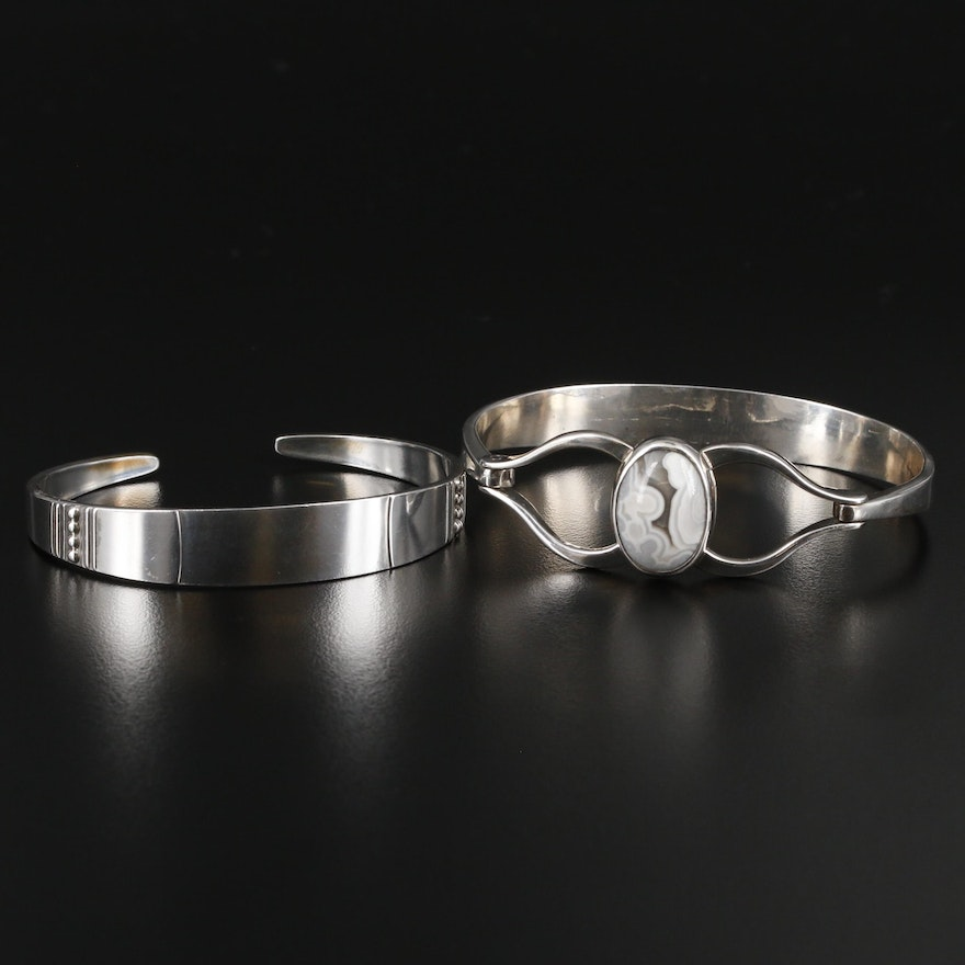 Sterling Silver Agate Bangle and Cuff Bracelets Featuring Reed and Barton